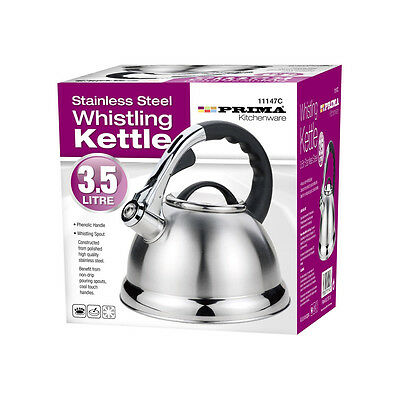 3.5L Stainless Steel Whistling Kettle Lightweight Cordles Camping Fishing Silver