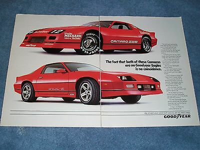 1986 Goodyear Eagle Tires Vintage 2pg Ad IROC-Z Z/28 Camaro