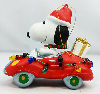 Snoopy in Red Car with Christmas Lights - Kurt Adler-Ornament-Peanuts #2