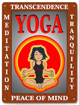 Woman's YOGA METAL SIGN insperational workout motivational retro wall decor 615