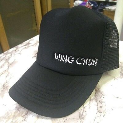 New Quality WING CHUN Embroidery Black Mesh Trucker Cap Kung Fu Hat