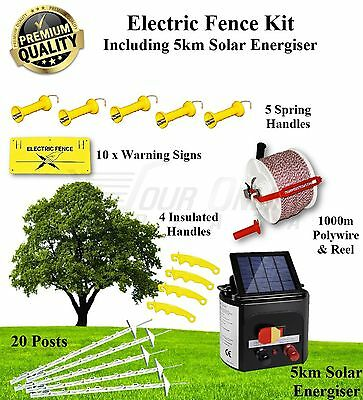 Electric Fence Kit Solar 5km Energiser charger posts polywire gate handles signs