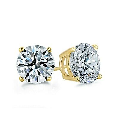 1 Ct Round Created Diamond Solitaire Earrings 14K Yellow Gold Heavy Basket Studs