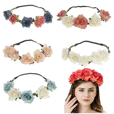2017 New Women Rose Flower Wreath Crown Headband Beach Floral Garlands Hair band