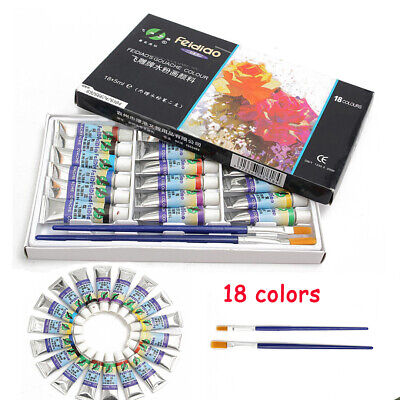 18 Colors 5ml Paint Tube Draw Painting Gouache Color Set & 2 pcs Paint Brush