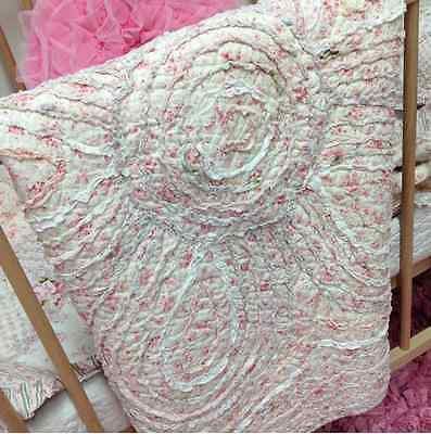 Shabby Hamptons 100% Cotton Round Rag Floral Floor Rug Mat Cottage Country Chic