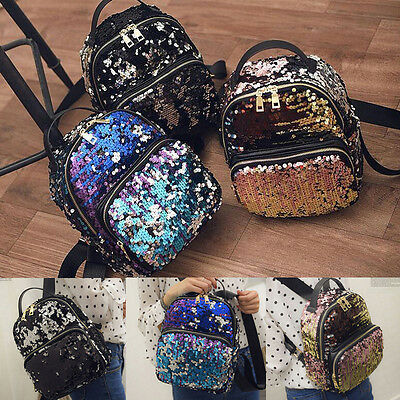 US Women Leather Travel Satchel Sequin Shoulder Backpack School Rucksack Bag X