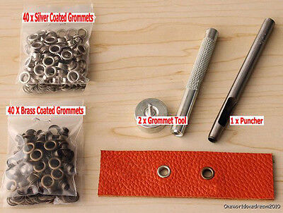 5MM Grommets Installation Setting Tool Kit Set + Leather Hole Punch +80 Eyelet