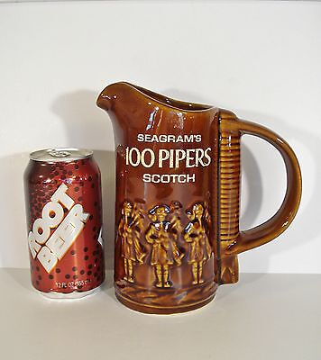 Vintage Seagram's 100 Pipers Blended Scotch Whisky PITCHER Bar Pub Jug Stoneware