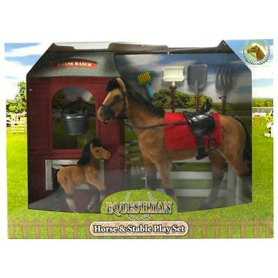 Equestrian Horse & Stable Pony Model Figure Play Set Toy (Black Mane)