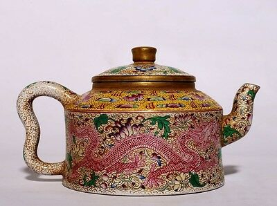 Very Rare Old Chinese Hand Painting ZiSha Pottery Teapot Marked QianLong PT091
