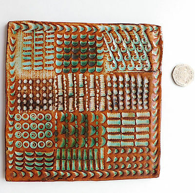"""Brown and green clay tile with patterns 5.5"""" square ceramic art studio pottery"""