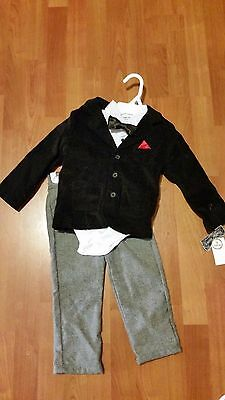 NWT Baby Boy Toddler 24 months Ring Bearer Wedding Formal Suit tie 3 pc. OUTFIT