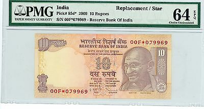 2009 10 Rupees (Replacement / Star) Note P.95d* - INDIA, PMG 64 EPQ
