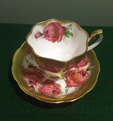 Queen Ann Tea  Cup And Saucer Gold With Roses