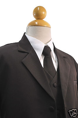 New Born Baby Toddler Boy Teen Formal Tuxedo Wedding Party Suit S-XL 2T-12 Brown