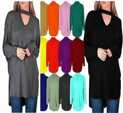 Women's Choker V neck Oversized Baggy Batwing Top Plus Size UK 8-26 New