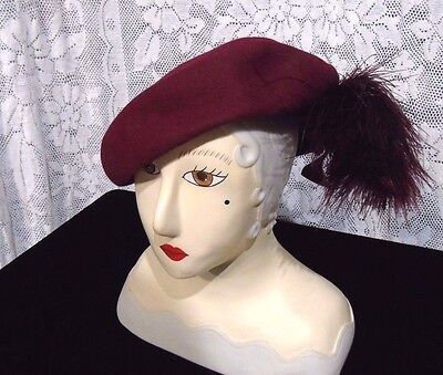 Womens 1940s Brambar Burgandy Felt hat large feather Chapeau style GOOD