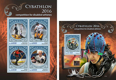 Sierra Leone Sports Paralympic Cybathlon 2016 Disabled Athlets MNH stamps set