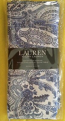 Set Of 4 Ralph Lauren Cotton Napkins Laveen Paisley Indigo Blue Soft White