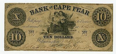 1855 $10 The Bank of Cape Fear - Wilmington, NORTH CAROLINA Note (Ashville)