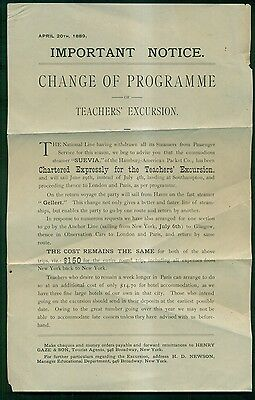 "1889 Hamburg-American Packet Co. Steamer ""Seuvia"" Teachers' Excursion Notice"