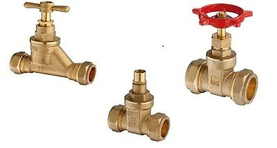 Flowflex British Made Gate Valve Lockshield Valve Stop Tap 28mm 35mm 42mm 54mm