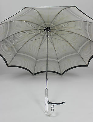 Authentic Vintage Umbrella in Black and White with Clear Handle