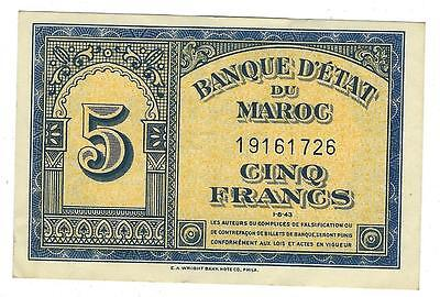 1943 Morocco 5 Francs Currency Note - Crisp Near Unc Condition- See Scans  (V44)