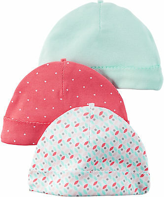 Carters Baby Girls Hello Cutie 3-pk. Hats One Size Coral multi