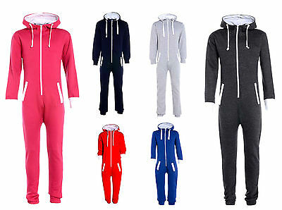 Kids Boys Girls Plain Hooded Onesie All In One Jumpsuit Playsuit Size 7-13 Years
