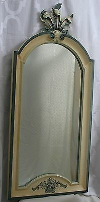 Vintage La Barge Country French Carved Hand Painted Wood Frame Mirror