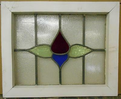 "OLD ENGLISH LEADED STAINED GLASS WINDOW Simple Floral 20"" x 16.25"""