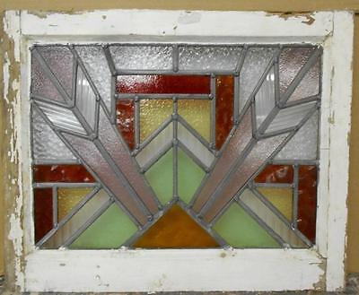 """OLD ENGLISH LEADED STAINED GLASS WINDOW Geometric Burst 20.75"""" x 16.75"""""""