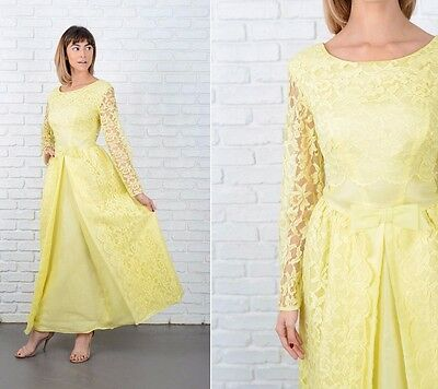 Vintage 60s Yellow Lace Dress Cocktail Party Gown Bow Floral Medium M
