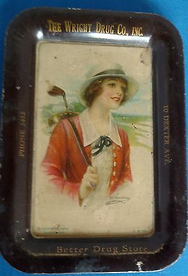 Antique Lithograph Drug Store Wright Drug Co Tin Tip Tray Ashtray Golf Club Lady