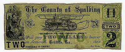 1862 $2 The County of Spalding - Griffin, GEORGIA Note CIVIL WAR Era
