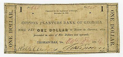 1862 $1 The Cotton Planters Bank - Thomasville, GEORGIA Note CIVIL WAR Era