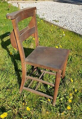 Reclaimed Original Wooden Elm Welsh Church Seat Chapel Chair Cafe