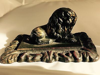 Antique Victorian Brass Lion Dog Poodle on Iron Base Paperweight Figurine