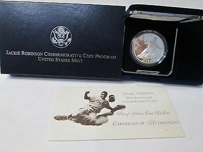 1997 Jackie Robinson 50th Anniversary Proof Silver Dollar Commemorative Coin