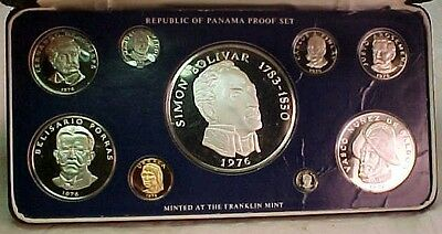 1976 FRANKLIN MINT Panama 9-coin STERLING SILVER PROOF SET