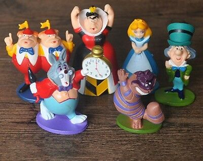 Alice In Wonderland Set Of 6 Figures Cake Toppers Cheshire Cat Mad Hatter