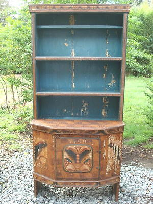 All Original 1790 Northern European Cupboard with Original Feather Painting