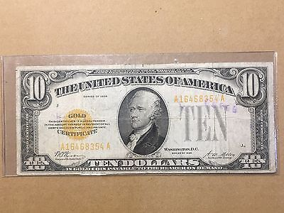 Series of 1928 $10 Gold Certificate Washington, D.C.