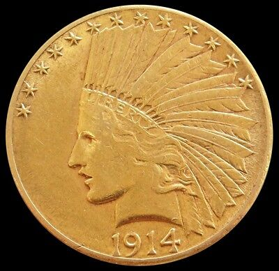 1914 D Gold United States $10 Indian Head Coin About Uncirculated Condition