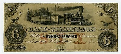 1855 $6 The Bank of Wilmington, NORTH CAROLINA Note w/ TRAIN - RARE!
