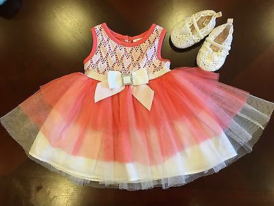 Peach / White Baby Girl Party Dress And White Lace Shoes, 6 Mo