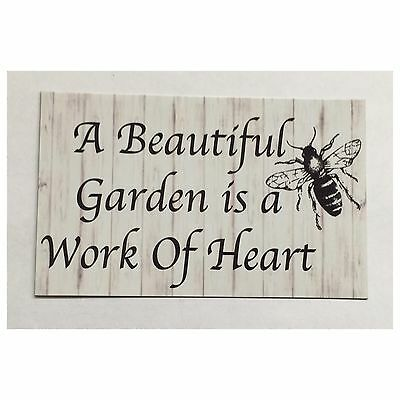 Garden Sign Flowers Seeds Gardening Bee Tin Wall Plaque or Hanging