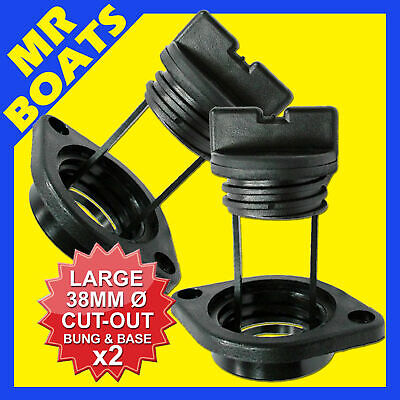2 x LARGE BOAT BUNG & BASES ✱ BLACK ✱COMPLETE DRAIN BUNGS PLUG BOAT COARSE THEAD